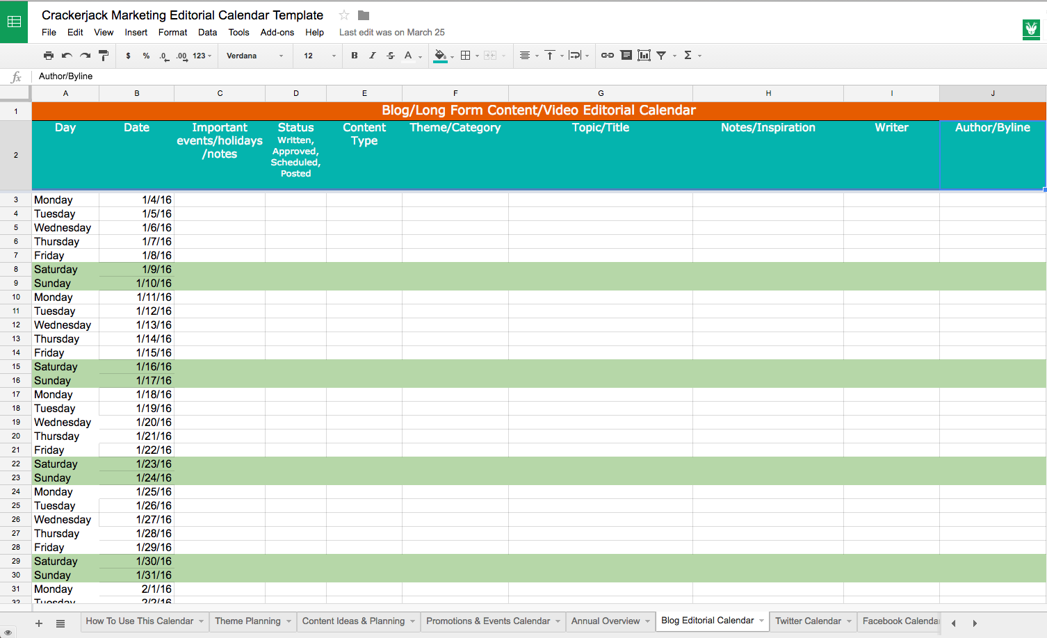Use our social media editorial calendar to organize your blog and social media efforts
